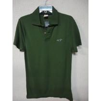 Camiseta Polo Masculina Hollister Surf Tam M Original Verde