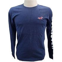 Camisa Manga Longa Hollister Azul Marinho Htb