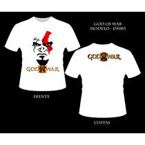 Camiseta Kratos God Of War Game Camisa Frente E Verso