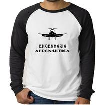 Camiseta Raglan Curso Engenharia Aeronáutica - Manga Longa