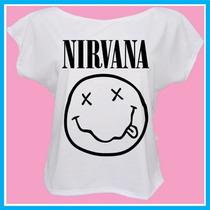 Blusa Feminina Nirvana, Banda, Rock, Música Personalizada