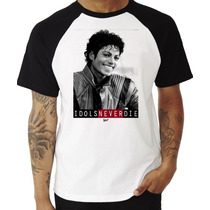 Camiseta Michael Jackson Idols Never Die Raglan Manga Curta