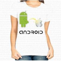 Camiseta Poliester Feminina Android Mijando Na Apple