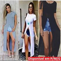 Blusa Feminina Maxi Fenda Saida De Praia Viscose Show