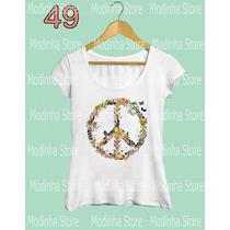 Tshirt Blusa Feminina Paz E Amor Borboletas Moda Look Flamê