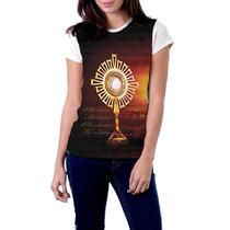 Camiseta Babylook Ostensório Religiosa Católica