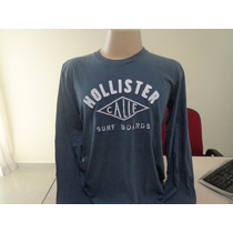 Camiseta Manga Longa Hollister Original Cinza Pronta Entrega