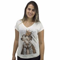 Blusa Feminina Estampa De Cachorro Com Coroa Em Viscolyccra