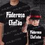 Kit Camisetas Pretas Poderoso Chefão E Poderoso Chefinho C/2