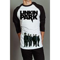 Camiseta Raglan Manga Longa Linkin Park Banda De Rock 2