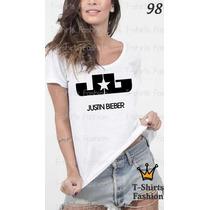 Camiseta T-shirts Fashion Justin Bieber Bandas Feminina