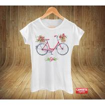 Blusa Feminina Bike Bicicleta Flores Coloridas Campo Fashion
