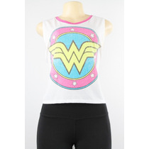 Dc Comics Wonder Woman Logo Tela Tee Branco
