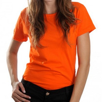 Camiseta Feminina Babylook Laranja 100% Algodão