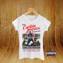 Camiseta Blusa Feminina Babylook Capitão América Vingadores