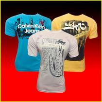 Camiseta Masculina Kit 20 Pc Lacoste Calvin Klein E Outras