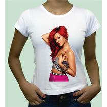 Rihanna Camisa Camiseta Personalizada Babylook Algodao