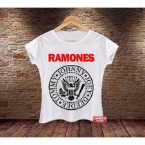 Camiseta Feminina Babylook Ramones Banda Rock Música
