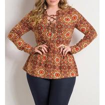 Bata Indiana Plus Size Com Amarração Estampa Mandala Top