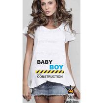 T-shirt Feminina Gestante Gravida Mãe Baby Boy Personalizada