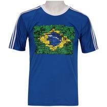 Camiseta Adidas 3s Wc14 Bandeira Brasil Azul