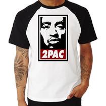 Camiseta Tupac Shakur 2pac Thug Life Rap Raglan Manga Curta