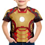 Camiseta Infantil Homem De Ferro Armadura