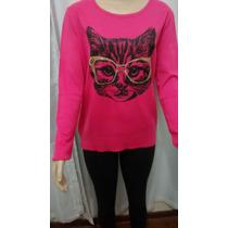 Blusa De Frio Feminina De Lã/trico Cardigã Gato C/ Oculos