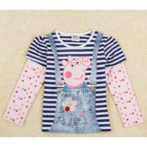 Camiseta Manga Longa Peppa Pig Infantil