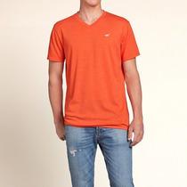 Camiseta Hollister Surf Masculina Gola V Laranja Original