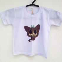 Camiseta Estampada Blusa Infantil 1 Ano Gatinho Marrom
