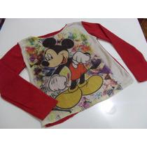 Blusa De Frio Feminina De Tricot Cardigã Mickey C/ Brilho