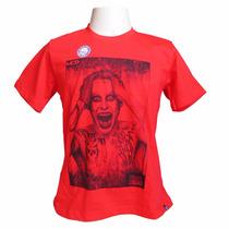 Camiseta Masculina Mcd Suicide Squad - Vermelho Tamanho M