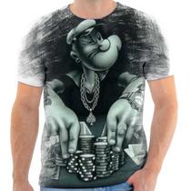 Camiseta Camisa Blusa Popeye Gangster Masculina Estampada 01