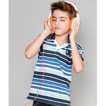 Polo Infantil Paco Kids - Listras Azul Céu