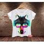 Blusa Feminina Baby Look Camisa Lobo Wolf Verão Animal Prin