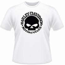 Camiseta Moto Harley Davidson Motor Cycles Camisa Caveira