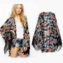 Kimono Jacket Franja Quimono Cardigan Sobreposição Renda