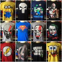 Lote Com 50 Camisetas De Personagens Atacado Revenda