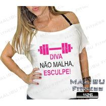 Camiseta Canoa Feminina Academia Diva Não Malha Esculpe
