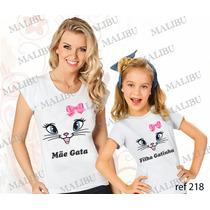 Blusa Mãe E Filha Gata Gatinha Baby Look Personalizada Com 2