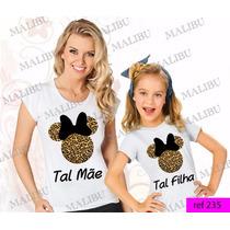 Tal Mãe Tal Filha Baby Look Kit 2 Uni Minnie Mamãe Onça