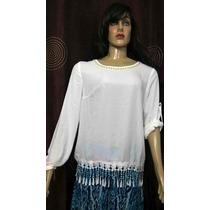 Promoção Blusa Branca Importada Crepe De Seda Renda E Pedras