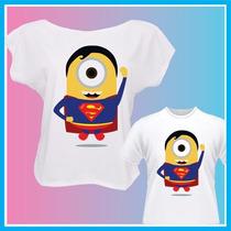 Kit Blusa Tal Mãe Tal Filho Minions Superman, Camisetas, Inf