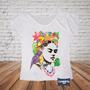 Camiseta Gola Canoa Feminina Frida Kahlo Tropical Mexicana