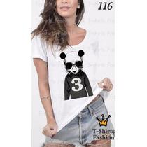 Camiseta T-shirt Panda Urso Fashion Feminino Blusa Baby Look