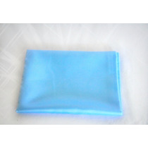 Lenço Quadrado Azul Em Cetim Charmousse 90x90 Cm