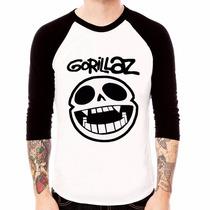 Blusa Camiseta Raglan 3/4 Banda Gorillaz