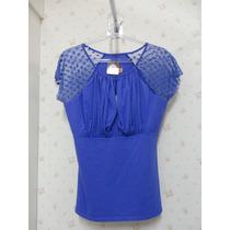 Blusa Azul - Blusinha Feminina - Renda - Tule