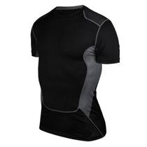 Camiseta Corrida Futebol Compressão Masculina Térmica Preta